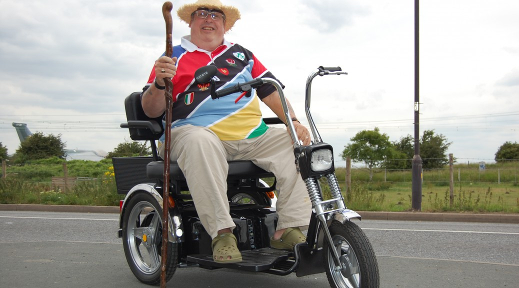 Our dear friend Joseph travelling in style with All Terrain Mobility- on his TGA Supersport class 3 mobility scooter!