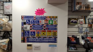 A closer look at our disabled car stickers! We have lots to choose from! Included are: disabled driver, disabled passenger, disabled blue badge holder, disabled ramp access needed, scooter user please leave 3 metre access, carer on call, medical oxygen on board, disabled sign sticker & wheelchair user sticker.
