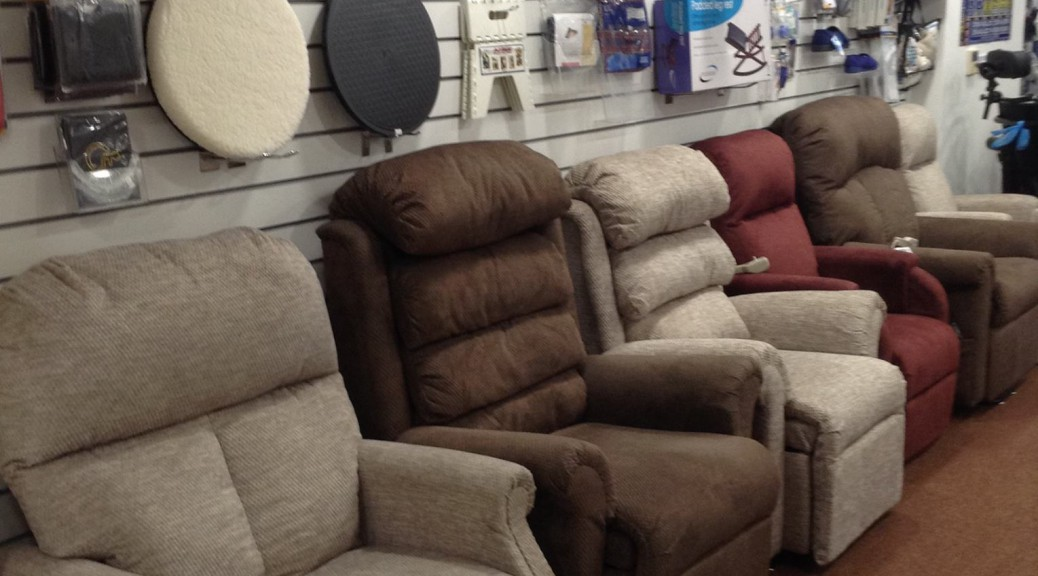 Our rise & recline chairs in our showroom in Rochford (near Southend) , Essex.