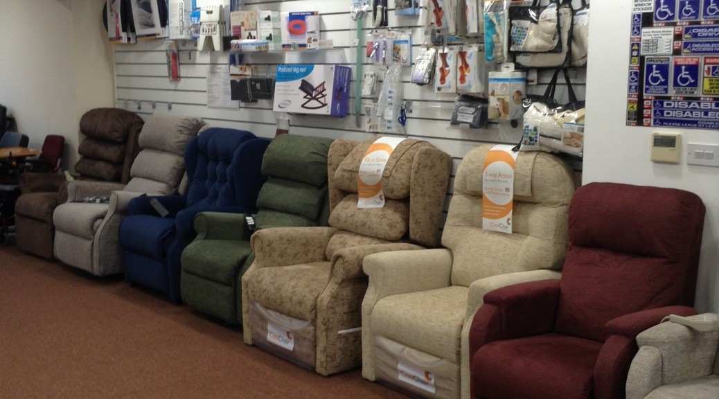 Here we have our showroom near Southend, Essex and a selection of our fabulous rise & recline chairs.