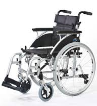 An All Terrain Mobility ( near Southend, Essex) swift self-propelled wheelchair in light grey with large wheels and a black padded seat.