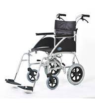 An All Terrain Mobility (near Southend, Essex) Swift transit wheelchair in light grey with a black seat and breaks on the wheels and handles