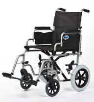 An All Terrain Mobility (near southend, Essex) Whirl transit wheelchair in grey with a black padded seat
