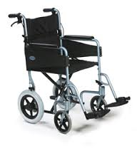 An All Terrain Mobility (near Southend, Essex) Escape light transit wheelchair in light blue with a black seat and breaks on the handles