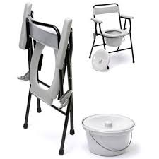 Folding commode made from light weight steel with light grey plastic seat , back and arms and removable bucket