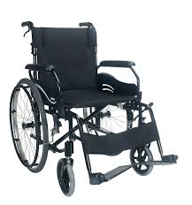 Karma wren 2 wheelchair self propelled in stylish black with large wheels and breaks on the wheels and handles.