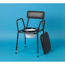 Standard height adjustable commode, with brown padded back and seat cover, black plastic seat and removable plastic bucket