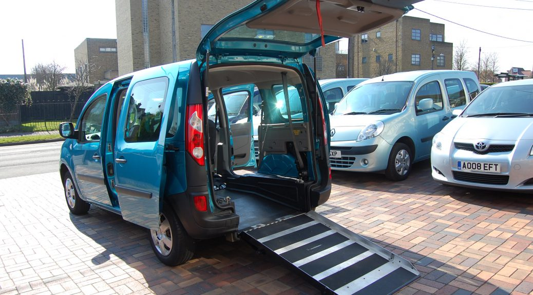 A blue Renault Kangoo, wheelchair accessible vehicle, mobility scooter friendly vehicle, mobility vehicle (WAV) with disabled, mobility scooter, wheelchair accessible ramp. An ex mobilbility scheme wheelchair adapted vehicle with low mileage, pristine interior and easy access for mobility scooter / wheelchair users.