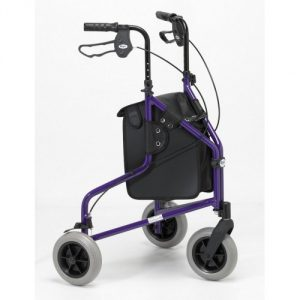 3 wheeled aluminium folding walker with lockable breaks, bag and arthritis friendly handles at All Terrain Mobility near Southend in Essex