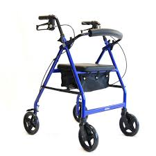 A light weight folding aluminum rollator in blue at All Terrain Mobility near Southend in Essex