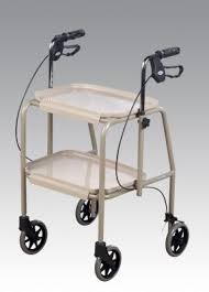 Walker trolley with breaks, height adjustable handles and removable trays