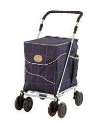 The Sholly- a fashionably styled, roomy shopping trolley that doubles as a walking aid! In purple with swivel wheels, and an optional brake kit at All Terrain Mobility near Southend in Essex