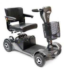 The ALl Terrain Mobility Shuttle, a heavy duty car transportable travel scooter, with pneumatic tyres removable batteries a delta shaped tiller and comfortable seat. Available from All Terrain Mobility near Southend in Essex.