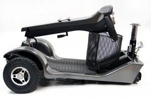 The All Terrain Mobility Shuttle car transportable heavy duty mobility scooter comes apart easily to go in the car. Available from All Terrain Mobility near Southend in Essex.
