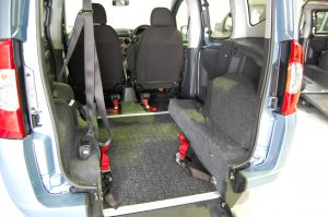 This Essex WAV's / All Terrain Mobility Fiat Qubo Wheelchair Accessible Vehicle comes with the necessary tie-down straps to allow the wheelchair user to travel safely in the vehicle