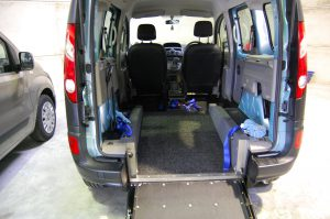 This All Terrain Mobility / Essex WAV's Renault Kangoo Wheelchair accessible vehicle has plenty of space to store your wheelchair/ mobility scooter . The inside of this pristine wheelchair accessible vehicle is picture here with a grey interior, a wheelchair acecess ramp and straps to hold your wheelchair in place whislt driving the wheelchair accessible vehicle