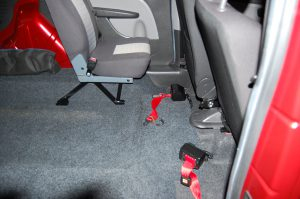 This Essex WAV's / All Terrain Mobility Fiat Doble Wheelchair Accessible Vehicle comes with the necessary tie-down straps to allow the wheelchair user to travel safely in the vehicle