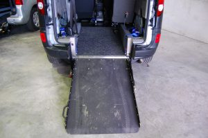 This Essex Wav's / All Terrain Mobility Renault Kangoo has a lowered floor, electric ramp and winch to allow easy access for your wheelchair / mobility scooter. The wheelchair / mobility scooter access ramp is dark grey with a non-slip surface.