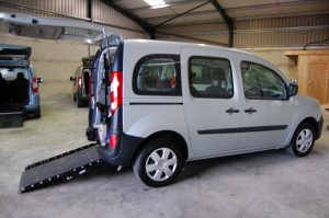 An All Terrain Mobility / Essex WAV's Renault Kangoo Extreme Wheelchair accessible vehicle / mobility scooter friendly vehicle with a wheelchair access ramp on display in our showroom near southend in essex.