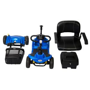 The ATM Illusion light weight car transportable mobility scooter in blue disassembled.