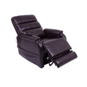Small rise and recline chair / lift chair in brown leatherette with waterfall back